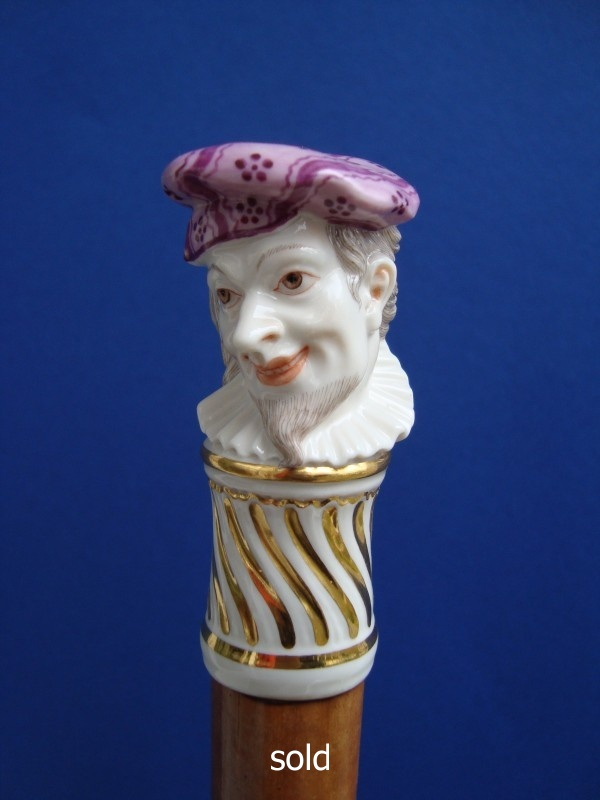 A Bustelli porcelain cane